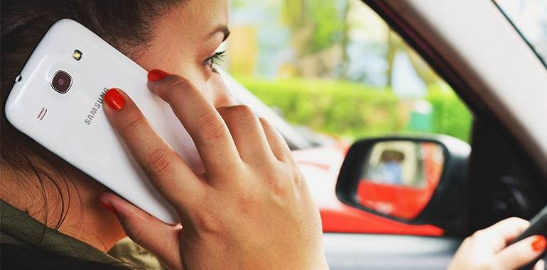 young women Calling in Car